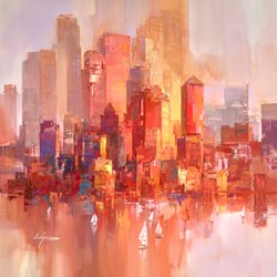 New York Harbour II by Wilfred - Original Painting on Box Canvas sized 37x37 inches. Available from Whitewall Galleries